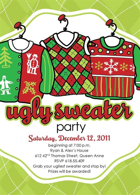 60 Best Christmas Ugly Sweater Party Images On Pinterest Ugliest Christmas Sweaters Xmas Sweater Invitation Templates Free