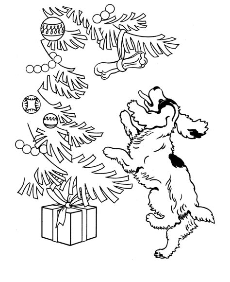 coloring pages dogs christmas dog and christmas tree coloring page animal pages of