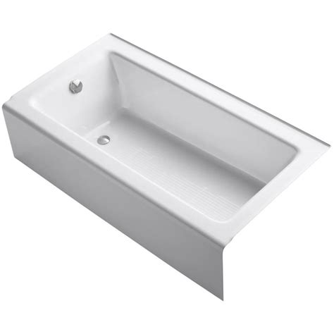 kohler cast iron shop kohler bellwether 60 in white cast iron bathtub with