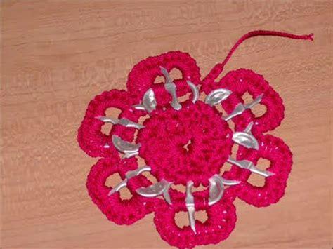 como hacer flores de crochet 0 26 como hacer una estrella flor con arillos de lata