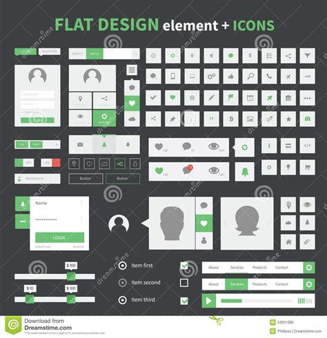 flat design ui elements flat design ui kit elements set with flat icons stock