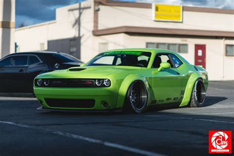 liberty walk hellcat green dodge challenger wearing liberty walk kit is venom