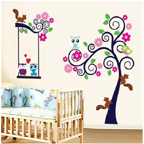 home decor for kids aliexpress com buy owl cartoon animal tree wallpaper for