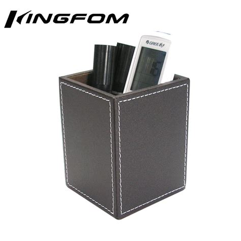 Kingfom Brown Leather Wooden Square Pens Pencils Holder Desk Supplies Organizer