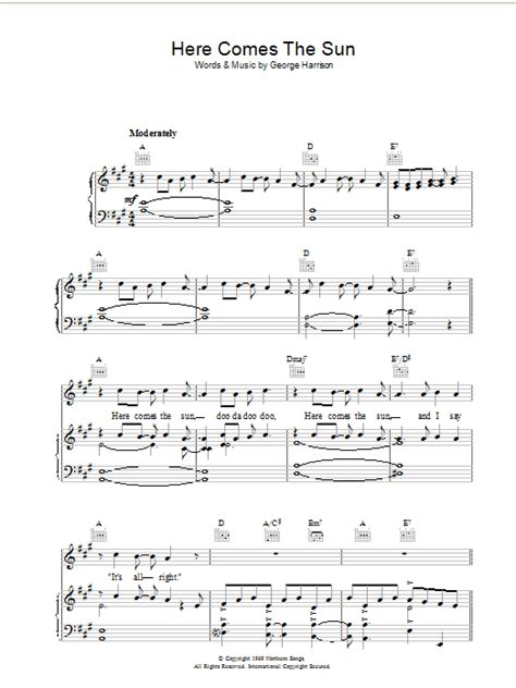 guitar tutorial here comes the sun here comes the sun sheet music direct