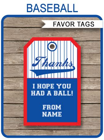 baseball party favor tags template   tags