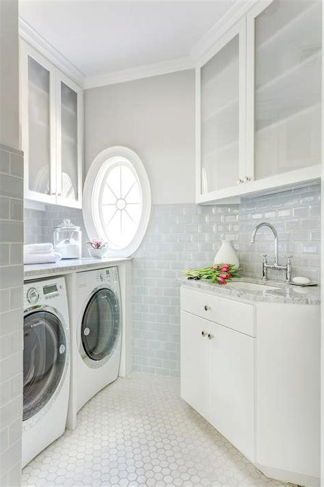 Pure White laundry Room with Gray Floor Tiles   Modern