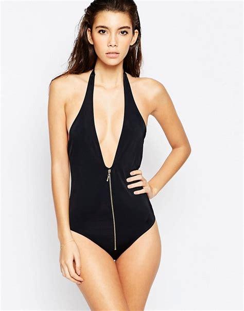 Front Zip Swimsuit asos asos zip front plunge swimsuit