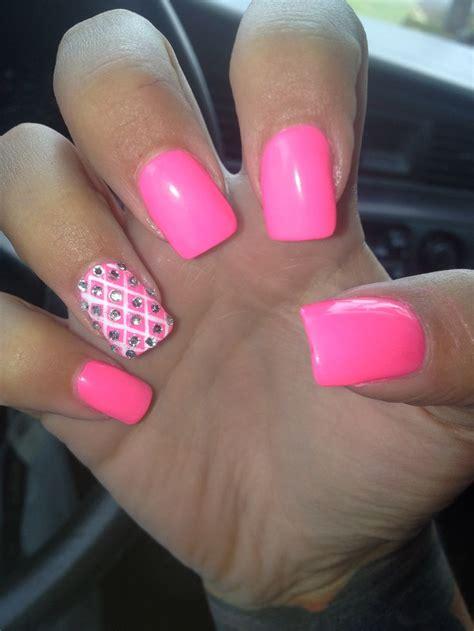 Acrylic Nail nails pink acrylic gems lines acrylic nails nails accent nails pink