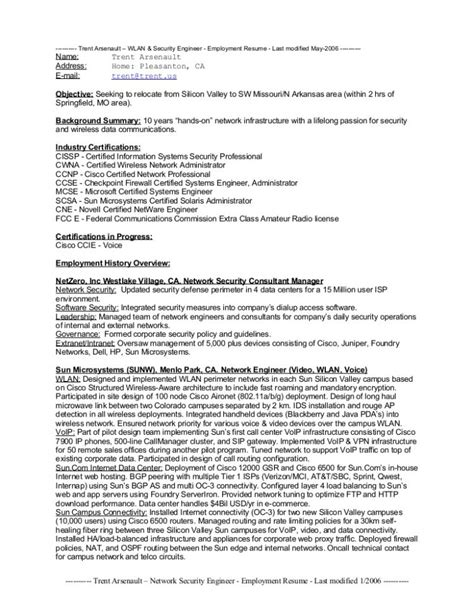 Network Engineer Resume Sle by Network Security Engineer Fresher Resume Network Security