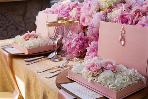 Wedding Theme Idea Pink And Gold Our One 5 by Pink Peonies And Gold Tabletop