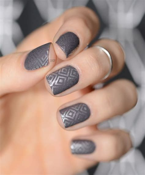 grey pattern nails the classic grey polish stylish 75 picks for grey nail