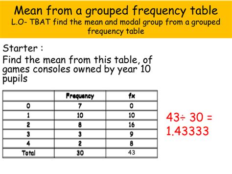 and modal from a grouped frequency table by