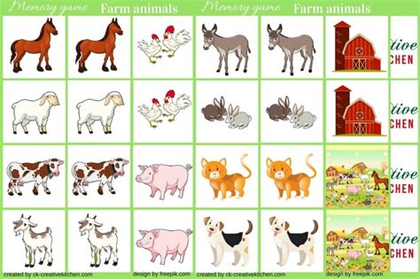 printable animal memory game cards farm animals memory game free printable creative kitchen
