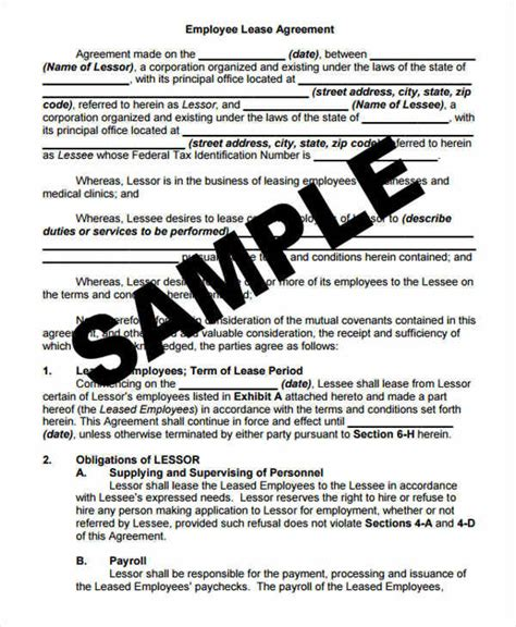 50 Lease Agreements In Pdf Sle Templates Employee Lease Agreement Template