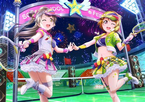 Jaket Sport Anime Live School Idol Kotori Minami Jg 2girls boots bow brown hair fireworks headphones koizumi hanayo hair live school idol