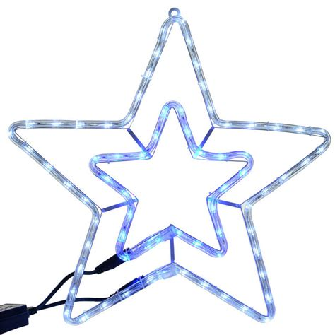 blue white led rope light star christmas decoration indoor