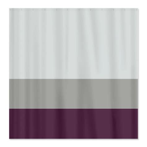 eggplant colored shower curtain custom color block shower curtain light tan grey and eggplant