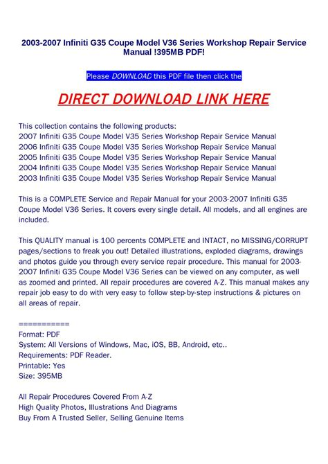 small engine repair manuals free download 2003 infiniti g35 seat position control 2003 2007 infiniti g35 coupe model v36 series workshop repair service manual 395mb pdf by
