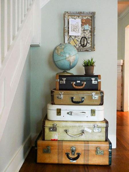 vintage furniture made of suitcases room decorating