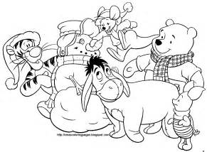 Winnie the pooh christmas colouring page disney