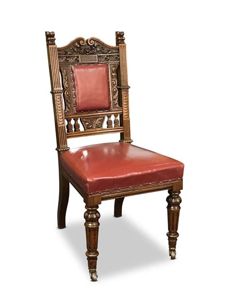 set   late victorian oak dining chairs  leather