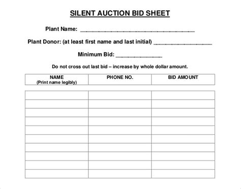 Silent Auction Bid Sheet Template Printable by Search Results For Silent Auctions Templates Word