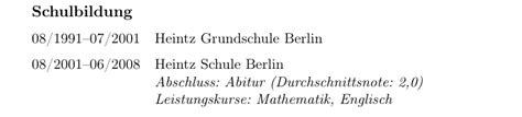 Lebenslauf Englisch Durchschnittsnote spacing decrease vertical space after header in cvlist