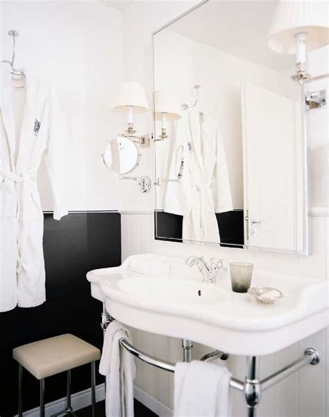 michelle b bathroom black and white bath chrome base sink sconces swing