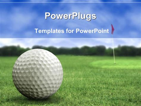 Powerpoint Template Golf Ball On The Golf Playground On Green Short Grass With Golf Flag In The Golf Powerpoint Template