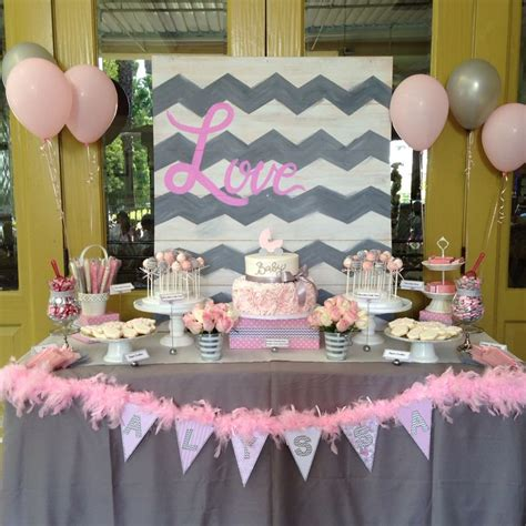 Pink And Grey Chevron Baby Shower Decorations by Pink And Gray Baby Shower Decorations