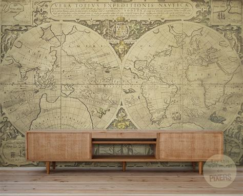 vintage wall murals quot vintage world map quot wall mural by pixers eclectic wallpaper other metro by pixers