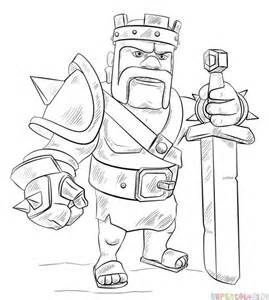 How To Draw Clash Of Clans Barbarian King Sketch Coloring Page sketch template