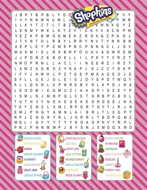 printable word games for parties shopkins printable word search digital download por