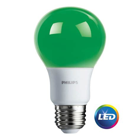Led Lights Bulbs For Home Philips 60w Equivalent Green A19 Led Light Bulb 6 Pack 463224 The Home Depot