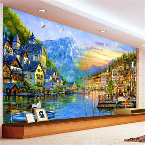 Tropical Wall Mural personalized 3d wallpaper european city painting large