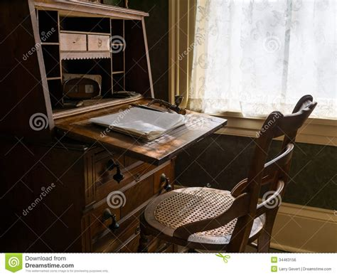 old fashioned desk l antique desk and chair royalty free stock image image