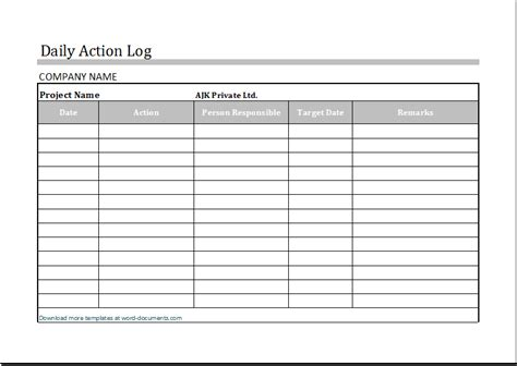 Daily Action Log Template For Ms Excel Document Templates Daily Work Log Template Word