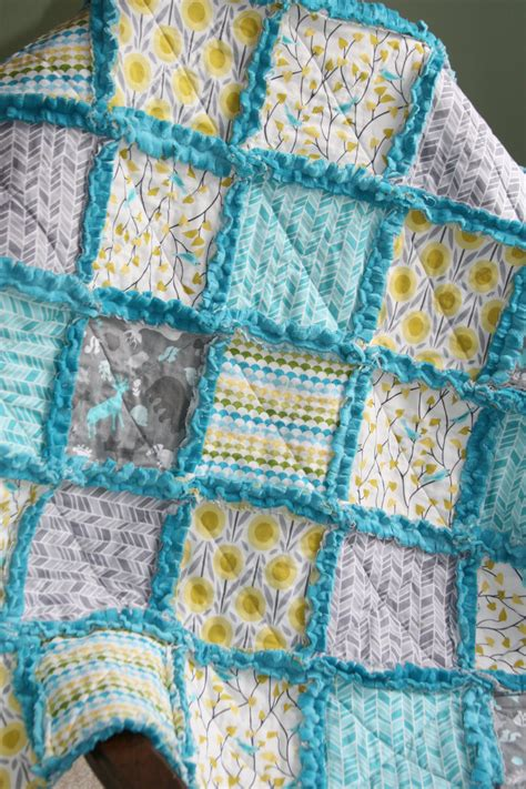 Rag Quilts by Baby Boy Rag Quilt Minky Rag Quilt Yellow Gray Teal Aqua