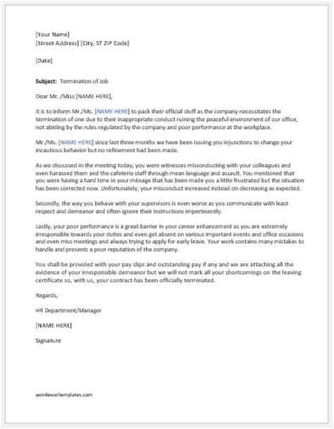 Employment Termination Letter New York Termination Letters