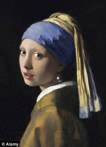With a pearl earring and other famous paintings by creasing bed sheets