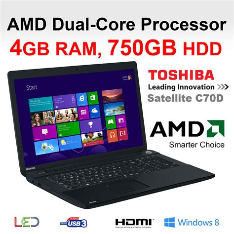 toshiba c70d 108 17 3 inch cheapest laptop amd dual e1 2100 4gb 750gb dvd r ebay