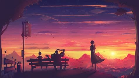 wallpaper futuristic anime girl sunset robot bench