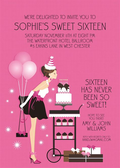 sweet sixteen invitation sle invitation templates