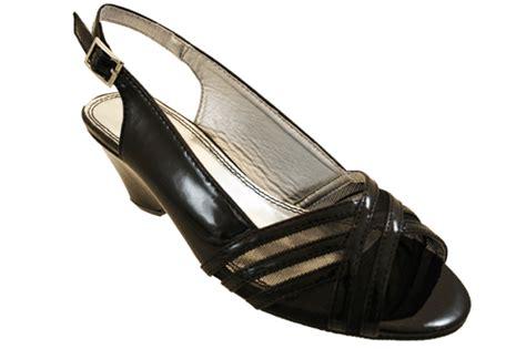 comfort plus sandals comfort plus ladies wide fit black patent wedge sling back