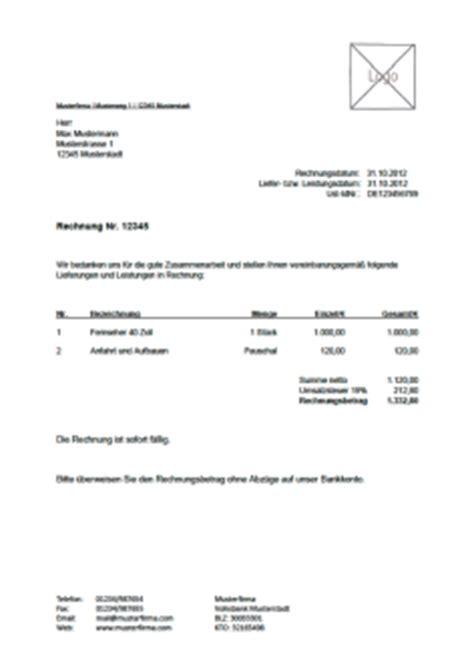 Lexware Muster Rechnung Kostenlose Rechnungsvorlage Vorlagen Muster F 252 R Rechnungen
