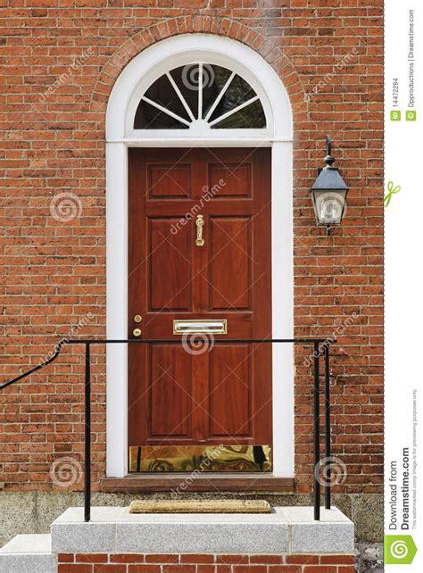 Elegant Front Door In A Brick Building Stock Photo Image Building A Front Door
