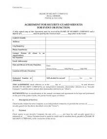 security services contract template 8 best images of event security guard contract agreement