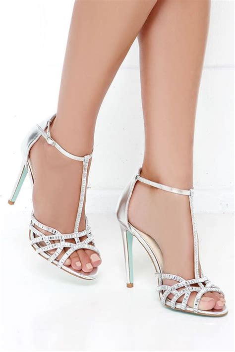 blue by betsey johnson ruby silver rhinestone heels prom