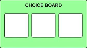 choice board template choice board 3 options